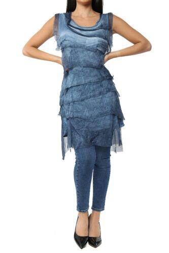 Women Italian Lagenlook Flap Over Shredded Layer Look Pleated Layer Dress