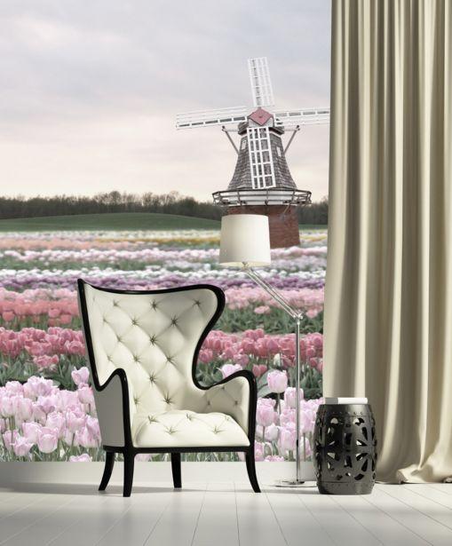 3D Windmühlen und Garten 4 Fototapeten Wandbild Fototapete BildTapete Familie DE