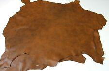 Italian soft Lambskin leather 2 skins hides TAN BROWN DISTRESSED 12sqf 0.7mm