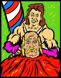Hulk-Hogan-Vs-Brutus-The-Barber-Beefcake-Wrestling-Glossy-Art-Print-8x10-WWF-WCW