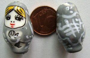 Fait main 16//27 mm 1 Perle Céramique MATRIOCHKA Noir