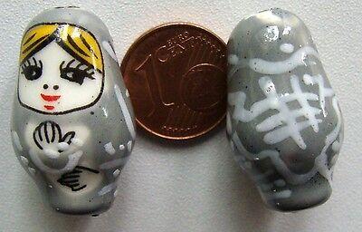 2 perles POUPEE RUSSE matriochka porcelaine 25mm ORANGE DIY Bijoux Loisirs Déco