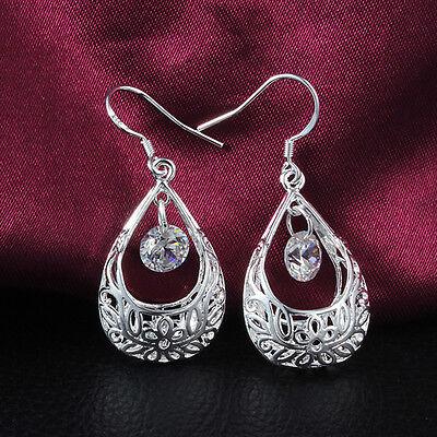 Chic New Women Silver Plated Ear Hook Chandelier Crystal Dangle Earring