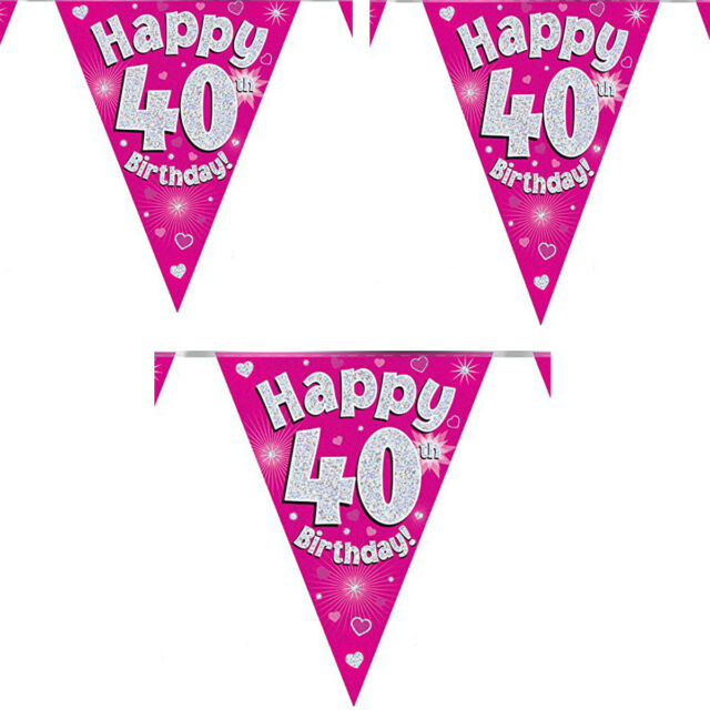 Happy Birthday Bunting Foil Milestone Flag Banners 12ft 3.7m Men Ladies Party UK