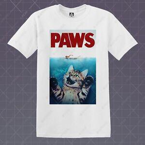 Paws-Camiseta-Gato-Parodia-Camiseta-Retro-Cartel-de-la-pelicula-Calvin-culto-nuevo-Kitty-Desconocido