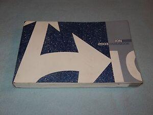 2003 saturn ion owners manual ebay rh ebay com 2003 Saturn Ion Timing Problems 2003 saturn ion owner's manual download