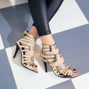 scarpe lucidi peep discoteca alto da strappy discoteca Womens scava toe fuori sandali tacco 8Xfg16