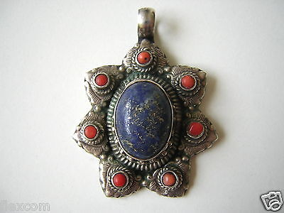 Sweet-Tempered Massiver 925 Sterling Silber Anhänger M Korallen Lapislazuli Cabochon 28,1 G Jewelry & Watches