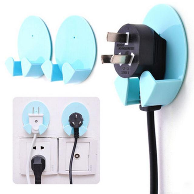 2X Power Plug Socket Jack Hook Rack Holder Hanger Home Wall Decor Organizer Cool