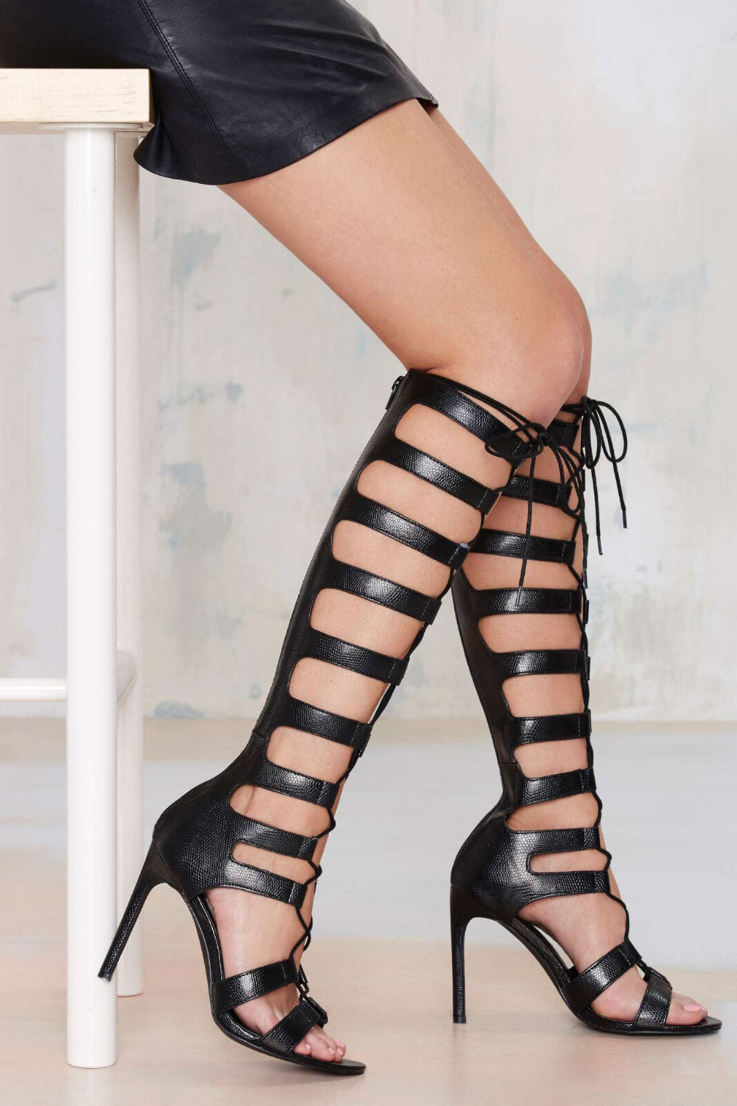 Nouveau Nasty Gal Noir Fighter Gladiator Talons Chaussures Taille 10