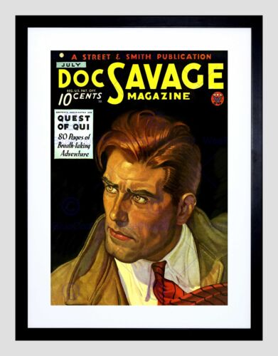 COMICS DOC SAVAGE MAGAZINE QUEST QUI ADVENTURE BLACK FRAMED ART PRINT B12X3295