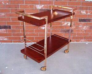 Used-Contemporary-Nickle-Plated-Steel-amp-wood-Serving-Trolley-Cocktail-Bar-Cart