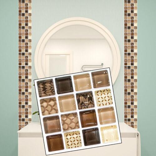 18pcs 3D Self-Adhesive Mosaic Tile Sticker Kitchen//Bathroom Wall Stickers Decor