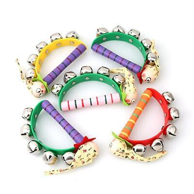 Baby Kids Wooden Clown Handle Bell Hand Tambourine Shake Rattle Toy Gifts HY