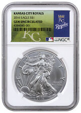 2016 American Silver Eagle NGC GEM BU (MLB Kansas City Royals Label) SKU40125