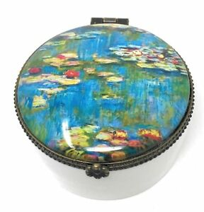 Beveled Glass 5.75 Inches Wide Value Arts Monets Water Lilies Glass Keepsake Box Velvet Lined