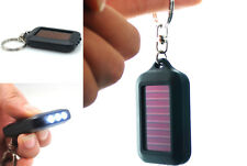 Mini Portable Solar Power Black 3LED Light Keychain Torch Flashlight BUCA