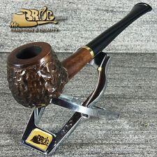 Mr.Brog original SMALL smoking pipe nr.29 brown carved * CARO * straight stem
