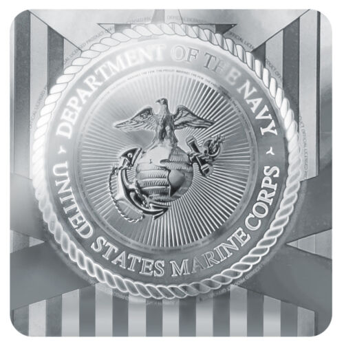 Marines Golden Logo on Black Licensed Metal Vanity Tag License Plate