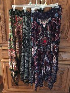 55d8917a5e NWT Print Bila Boho Handkerchief Long Skirts L XL XXL Blue Black ...