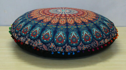 """32/"""" Round Sitting Ottoman Cover Indian Mandala Cushion Cover Floor Pillow Covers"""