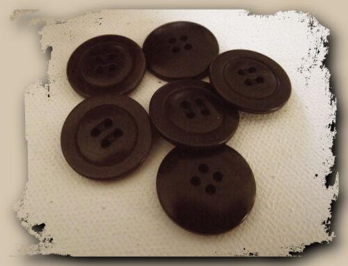 22 mm LOT 6 BOUTONS BRUN NOIR NEUF 4 trous button brown black à coudre