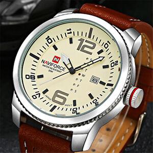 Naviforce-Herren-Sport-Quarzuhr-Armbanduhr-Echtes-Leder-Datum-Watch-Wasserdich