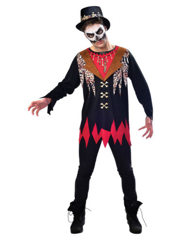 Adult Witch Doctor Fancy Dress Mens Halloween Costume Black Magic Voodoo Outfit