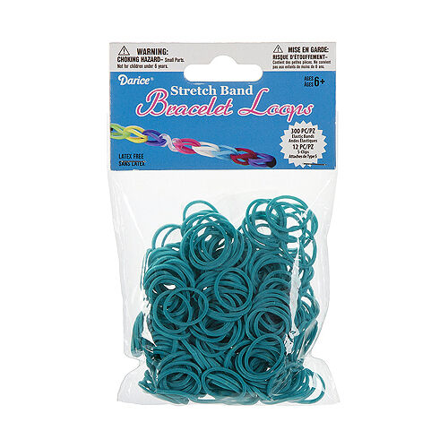 312pc Turquoise Stretch Rubber Band Bracelet Loops and S-Clips Set kids crafts