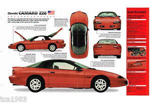 Ehrlichkeit Chevy Camaro Z28 Spezial Folie / Broschüre Z-28 Gute WäRmeerhaltung g4 1996 : 1994,1995