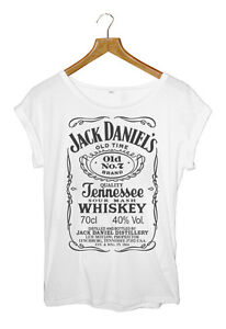 JACK-DANIELS-WOMEN-039-S-ROLLED-SLEEVE-TUNIC-T-SHIRT-BLK-WHT-S-M-L-AVAILABLE