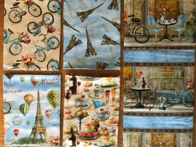 PARIS BALLOONS Fabric Fat Quarter Cotton Craft Quilting TRES GRAPHIQUE Bicycles