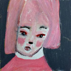 Original-Outsider-Art-Figure-Painting-Fingers-Crossed-Katie-Jeanne-Wood