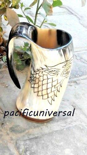 Game Of Thrones Stark-Sigil Wolf Viking-Drinking Horn Mug Cup Beer Wine Mead Ale