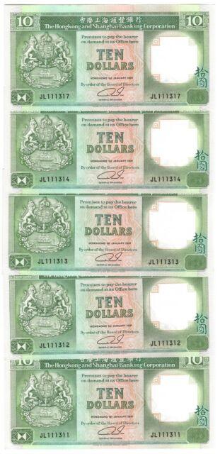 UNC! HONG KONG 5 CONSECUTIVE HSBC $10 Dollar Banknotes (1992) P-191c JL Prefix