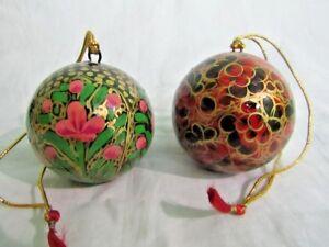 Paper Mache Christmas Ornament.Details About Handmade Painted Paper Machie Ball Kashmir Paper Mache Christmas Ball Set Of 2