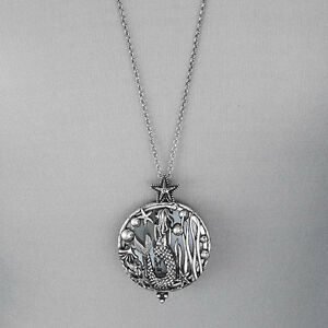 Long antique silver chain mermaid sea life magnifying glass pendant image is loading long antique silver chain mermaid sea life magnifying aloadofball Image collections