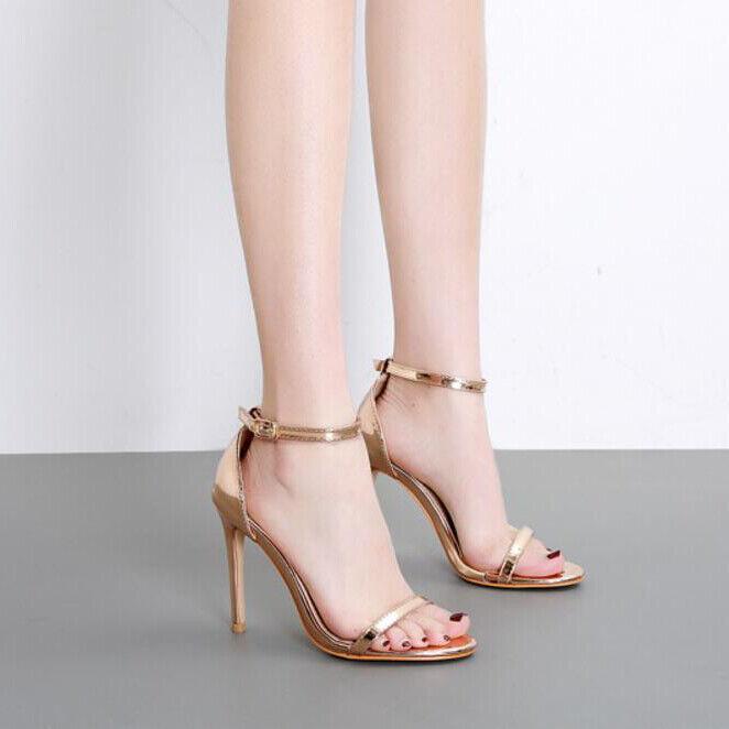Sandali stiletto 12 cm gold lucido tacco spillo simil pelle eleganti 1019