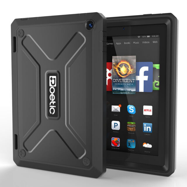 """Poetic Revolution Black Case """"Built-in-Screen Protector"""" For Fire HD 7 2014"""
