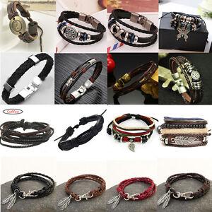 Men-039-s-Braided-Leather-Wrist-Bracelet-Handmade-Wristband-Cuff-Bangle-Jewelry-Punk