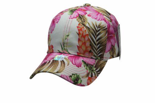 Adj Back Strap NWT Premium Bright Hawaiian Pink Flowers Baseball Caps