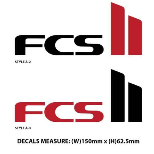 150mm x 62mm FCS 2 Surfboard Fins Vinyl Cut Decal Stickers