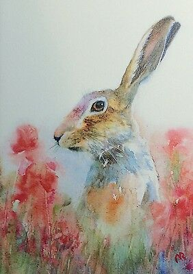 Card picture Watercolour Hare and Poppies Print Gift,Wildlife,Animal,Art,