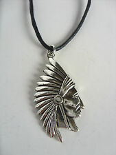 A Wax Cord Tibetan Silver Native American / Indian Chief  Charm Pendant Necklace