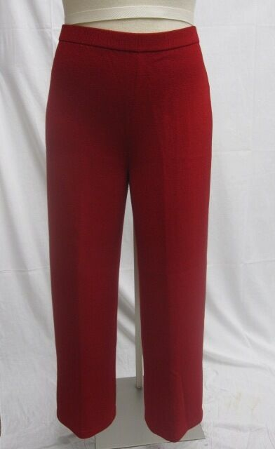 St. John Knit Collection NWT Mgoldccan Red Flat Panel Pants Size 10 12