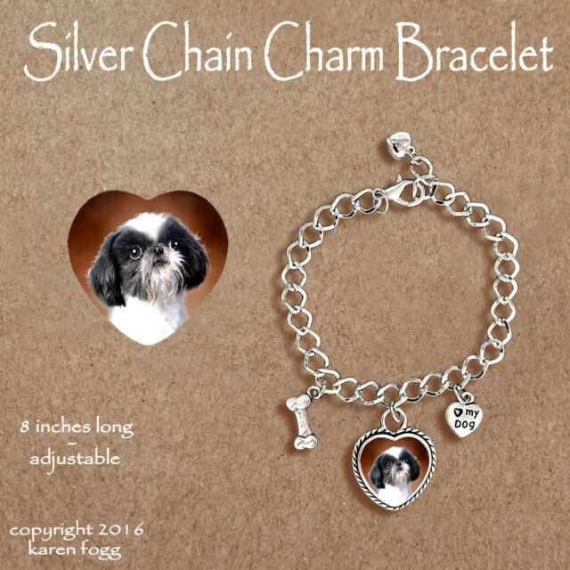 Shih Tzu Japanese Chin Dog Charm Bracelet Silver Chain Heart For