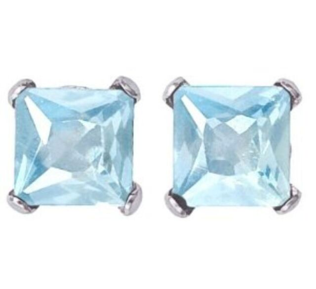 2 ct. Aquamarine Princess Stud Earrings in Solid Sterling Silver ~ Gift box