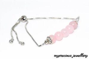 Gemstone Bracelet Natural Rose Quartz Fertility Zircon Silver Chain Adjustable