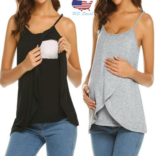 Women Pregnancy Strap Vest Nursing Sleeveless Top Tank Tee Breastfeeding Blouse