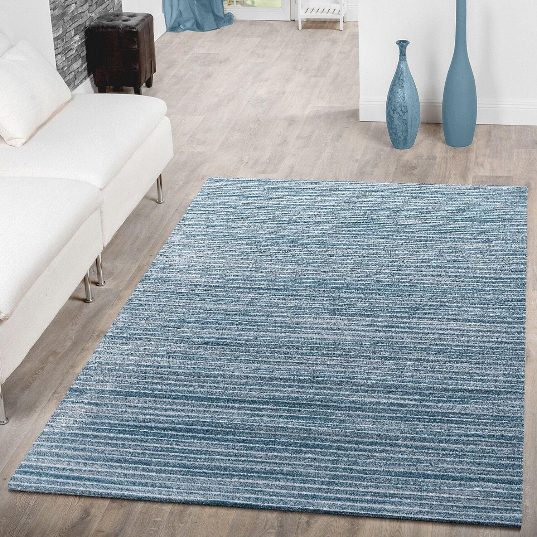 Teppich Modern Glitzergarn Teppiche Kurzflor Streifen Liniert Meliert Meliert Meliert In Türkis 82414f